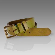 Paul Smith Belts - Green Worn Double Keeper Belt
