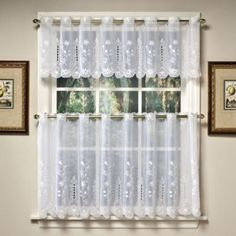 Samantha Sheer Window Curtain Tier Pairs and Valance in White - BedBathandBeyond.com