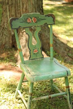 Vintage Shabby Hand Painted Chair In Green Tole By WildBoarDesigns