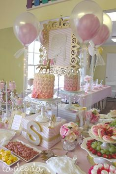 Pink and gold unicorn birthday party! See more party planning ideas at CatchMyParty.com!