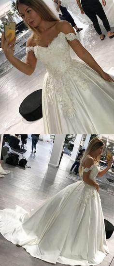9b6b02ff7cb0c Romantic Lace V-neck Off Shoulder Satin Wedding Dresses Ball Gowns M7791