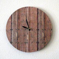 Unique Wall Clock, Reclaimed Wood Print, Decor and Housewares, Wall Clock, Home and Living, Rustic Decor, Eco Friendly Decor, UniqueGift