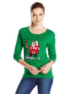 Isabella's Closet Women's Santa Drinking with Friends Ugly Christmas Sweater, Green, Small