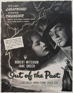 1940s hollywood 1947 vintage movie poster advertisement ROBERT MITCHUM Jane Greer OUT OF THE PAST illustration