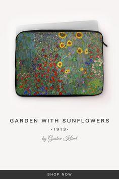 """""""Garden with Sunflowers"""" by Gustav Klimt Gustav Klimt, 7 And 7, Back To Black, Sunflowers, Laptop Sleeves, Snug, Zip Around Wallet, Garden, Fabric"""