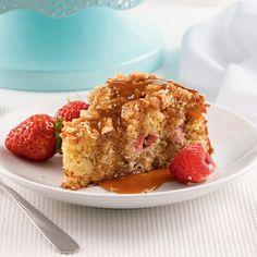 Gâteau croustillant à la rhubarbe, sauce au caramel - 5 ingredients 15 minutes Biscuits Graham, Sauce Caramel, French Toast, Muffins, Deserts, Gluten Free, Pie, Pudding, Baking