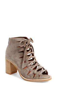 Free shipping and returns on Jeffrey Campbell 'Corwin' Open Toe Bootie (Women) at Nordstrom.com. Crisscrossed laces bridge the open toe of a stylish suede bootie lifted by a chunky stacked heel.