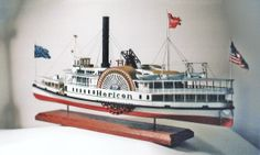 Lake George steamboat HORICON I c.1877. Scratchbuilt custom wood model, scale 1:96.    HORICON was defined as being one of the most lavish steamboats to operate in the Adirondacks during the Victorian Period. She was fast as she was beautiful. Built in 1877 at Cook's Landing, she retained the title for being one of the most popular steamboat of the 19th century. This is a rare, one of a kind model that can be commissioned by noted builder Rex Stewart. Contact: Caseships@yahoo.com for…