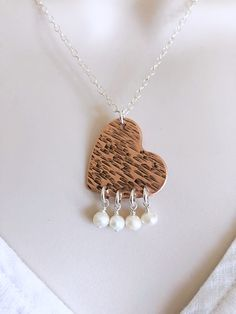Handmade necklace and Earring set, Copper Heart, Pearl necklace, Jewelry set, Sterling silver Jewelry, Love Jewelry, Jewelry set