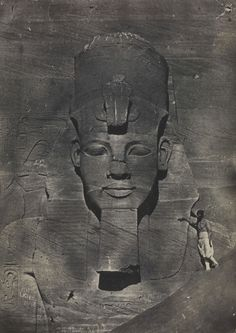 Nubia, Abu Simbel, middle colossus from the temple of Rameses II  photo by Maxime Du Camp (1822-1894)