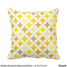 Modern Geometric Hypocycloid Star Pattern Yellow Pillows