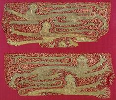 Heraldic embroidery, leopards, early 1300s. Surface-couched gold thread, silk.