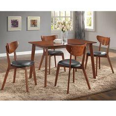 Sumner Mid-Century Style Walnut 5-Piece Dining Set - Overstock Shopping - Big Discounts on Baxton Studio Dining Sets