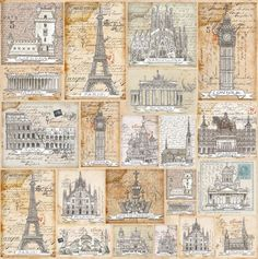 Ricepaper/ Decoupage paper, Scrapbooking Sheets /Craft Paper Postcards Cities