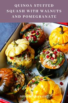 Vegan Quinoa Stuffed Squash with Walnuts and Pomegranate (gluten-free) // Vegan . - Vegan Quinoa Stuffed Squash with Walnuts and Pomegranate (gluten-free) // Vegan Thanksgiving Dinner - Fall Recipes, Holiday Recipes, Vegan Recipes, Vegan Squash Recipes, Fall Vegetarian Recipes, Vegan Vegetarian, Vegan Thanksgiving Dinner, Vegan Christmas Dinner, Healthy Thanksgiving Recipes
