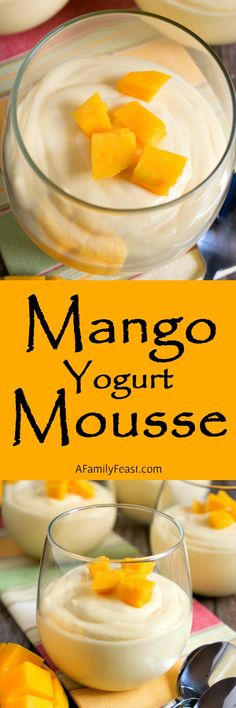 This light and creamy Mango Yogurt Mousse is a taste of the tropics! Elegant for a special meal but easy enough to serve any day of the week!