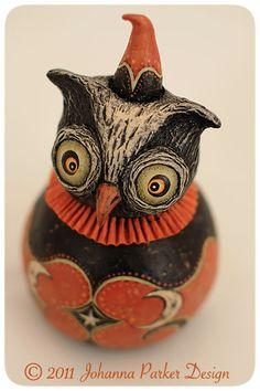 Halloween folk art owl ball character by Johanna Parker