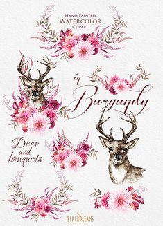 Watercolor Deer in Burgundy Flowers Antlers Stag by ReachDreams
