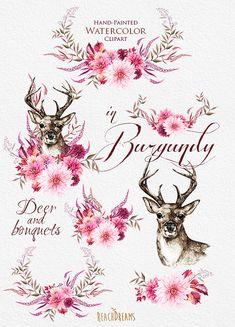 Watercolor Deer in Burgundy Flowers Antlers Stag от ReachDreams