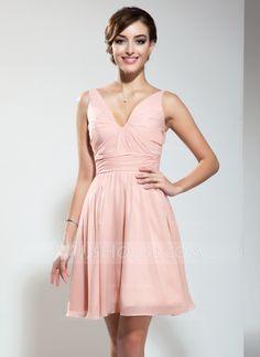 Homecoming Dresses - $99.99 - A-Line/Princess V-neck Short/Mini Chiffon Homecoming Dress With Ruffle (022009178) http://jjshouse.com/A-Line-Princess-V-Neck-Short-Mini-Chiffon-Homecoming-Dress-With-Ruffle-022009178-g9178