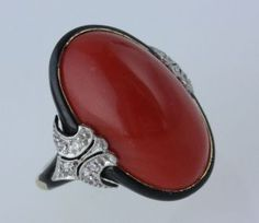 Image result for red coral diamond ring auction Art Deco Ring, Art Deco Jewelry, Fine Jewelry, Coral Jewelry, Coral Ring, Antique Jewelry, Vintage Jewelry, Dress Rings, Red Coral