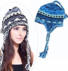 Lakhays-Wool-Knit-Braided-Ski-Hat-Ice-Blue-Tie-Up-Lined-Winter-Cap-Ear-Flaps #Unique_Boho_Style
