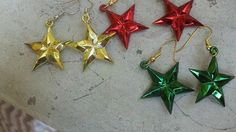 Three pairs of Christmas Star Earrings by Shelithas on Etsy, $5.00