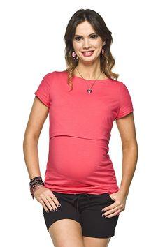 Elegantní vínové těhotenské tričko na kojení V Neck, Tops, Fashion, Moda, Fashion Styles, Fashion Illustrations
