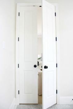 Oil Rubbed Bronze Door Hinges Installed, Black Hinges On White Doors,  Double Bathroom Doors