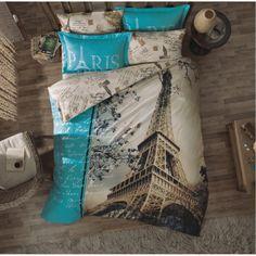 100 Cotton 6pcs Paris in Autumn Double Size Duvet Cover  Set Eiffel  | Faylamor20 -  on ArtFire