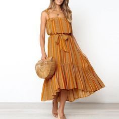 Shop & Buy Boho sleeveless summer dress Casual ruffled striped print sash maxi dress Ladies holiday beach wear strap sexy dress Online from Aalamey Sexy Maxi Dress, Floral Maxi Dress, Boho Dress, Striped Dress, Yellow Dress, Dress Red, Prom Dress, Hippie Chic, Hippie Style