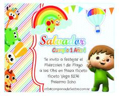 Invitación de diseño exclusivo para cada festejo #BabyTV Tv Themes, Party Themes, Baby Birthday, 1st Birthday Parties, School Themes, Baby Cartoon, Party Printables, Rainbow Colors, Birthday Invitations