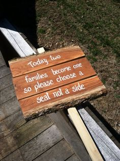 Choose a seat not a side rustic wedding sign  by SawmillCreations, $39.00