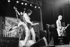 English punk band The Clash performing at the Manchester Apollo on the 'Clash Out On Parole' tour 2nd July 1978 Left to right Joe Strummer Mick Jones...