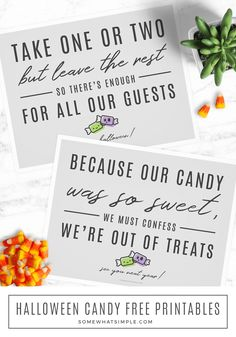 Halloween Out of Candy Sign Trick or Treat Printable We Love These Simple Halloween Candy Signs! Just Print And Place And Let Trick-Or-Treaters Know How Many Pieces To Take And When Youre Out Of Candy! Source by somewhatsimple Diy Halloween Gifts, Diy Halloween Home Decor, Halloween Candy Bowl, Halloween Decorations For Kids, Diy Holiday Gifts, Halloween Signs, Easy Halloween, Holidays Halloween, Halloween Tricks