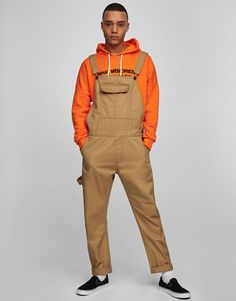 :Denim dungarees with pocket pouch New Outfits, Casual Outfits, Fashion Outfits, Summer Outfits, Pull & Bear, Denim Dungarees, Overalls, Salopette Jeans, Men Suits