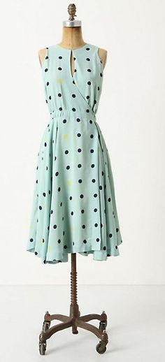 Not so much with the pale blue but love the wrap, keyhole neck, hemline and also, DOTS
