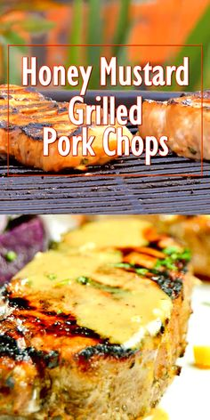 Easy grilled pork chops with a honey mustard marinade. Ideal for summer bbq's or fall picnics! Easy grilled pork chops with a honey mustard marinade. Ideal for summer bbq's or fall picnics! Honey Mustard Pork Chops, Honey Mustard Glaze, Marinated Pork Chops, Glazed Pork Chops, Glaze For Pork Chops, Traeger Pork Chops, Marinade For Pork Chops, Grilled Pork Tenderloin Marinade, Smoked Pork Chops