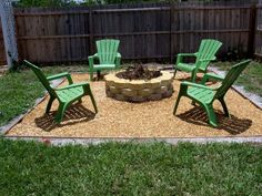 Outdoor Green Chairs For Simple Backyard Using Cute Patio Ideas On A Budget And Round Brick Fire Pit Frugal Patio Ideas with Fire Pit on a Budget
