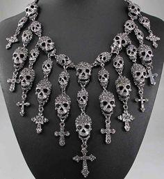 Crystal Encrusted Skull Choker Necklace Pendant