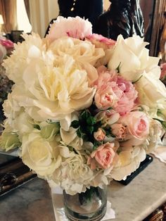 Peonies, roses and hydrangea make up this beautiful bouquet