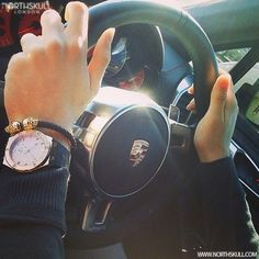 Fan Instagram Pic !   While In The Cabin Of A Luxury Porsche @Cal_o_g Posted A Cool Photo Of His Hublot Big Bang Watch Nicely Layered With Our Black Nappa Leather & 18kt. Gold Twin Skull Bracelet, A Great Pick From Our Collection!   Available now at Northskull.com   For A Chance To Get Featured Post A Cool Photo Of Your Northskull Jewelry With The Tag #Northskullfanpic On Instagram