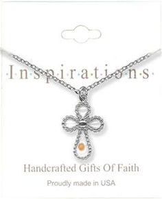 Silver Cross Mustard Seed Necklace