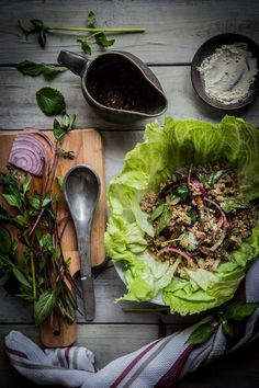 Ground pork served with fresh herbs and drenched in savory, sweet, and sour dressing will leave you begging for more of this salad Pork Larb, Pork Satay, Thai Recipes, Side Dish Recipes, Pork Recipes, Asian Recipes, Hawaiian Recipes, Asian Foods, Salads
