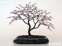 Asymetrical Cherry Blossom Beaded Bonsai Mini Wire Tree Sculpture Spring Colors - MADE TO ORDER Custom on Etsy, $60.00
