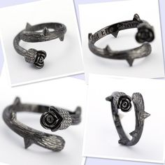 Finely textured Gothic Rose and Thorn Ring
