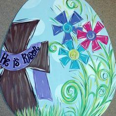 Spring+flower+and+cross+Easter+Egg+door+hanger+by+JAGARToriginals -- love this!!!!