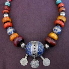 Berber Enamel Eggbeads with Silver Resin and door TuaregJewelry, $448.00
