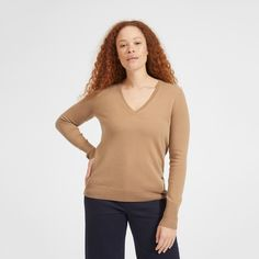 Our essential cashmere V-neck. Warm, soft, and lightweight, this sweater has a slightly relaxed fit for a timeless look. Plus, its made of certified Grade-A cashmere from Inner Mongolia, which is more durable, pills less, and gets softer with wear. Another classic for your closet.