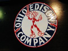 Ohio Edison Company Porcelain Sign (Vintage Enamel Utilities Sign, Antique Reddy Watt Graphic Advertising Signs)